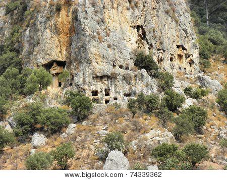 Rock tombs near the ancient city Caunos.