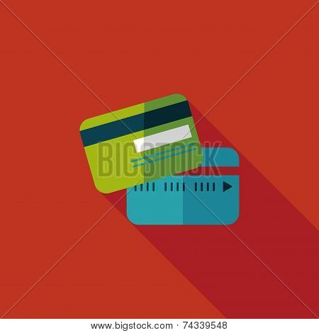 Credit Card Flat Icon With Long Shadow