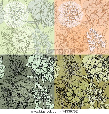 Set Of Seamless Backgrounds - Floral Seamless Pattern With Hand Drawn Flowers. Ready To Use As Swatc