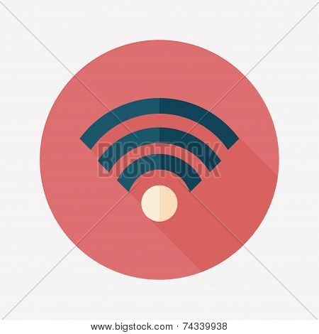 Wireless Wifi Flat Icon With Long Shadow