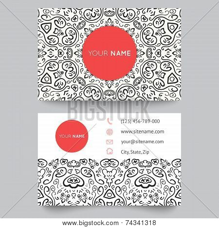 Business card template, black, red and white beauty fashion pattern vector design