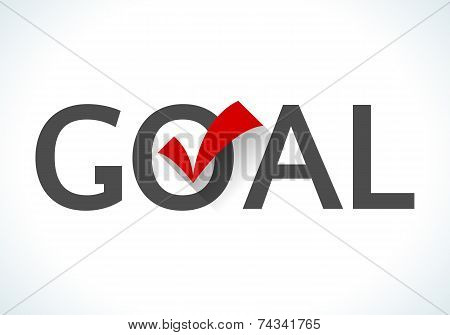 Business goal concept. Goal icon with red check mark on white background