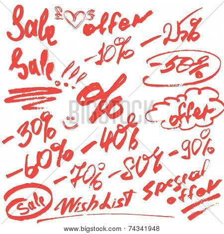 Set Of Handwritten Words Sale, Special Offer And Numerals 0-9% - Calligraphic Elements For Fashion O
