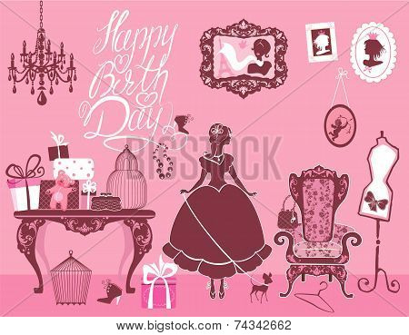 Princess Room With Glamour Accessories, Furniture, Cages, Gift Boxes, Pictures. Princess Girl And Do