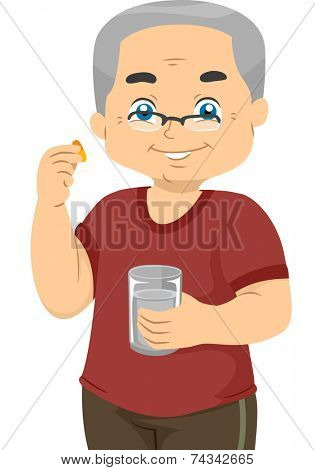 Illustration Featuring an Elderly Man Taking Vitamin Pills