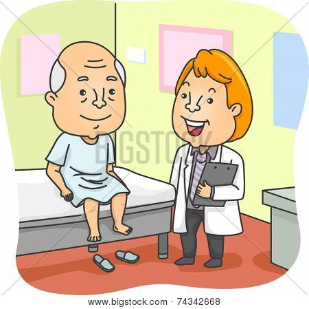 Illustration Featuring an Elderly Man Having a Medical Checkup