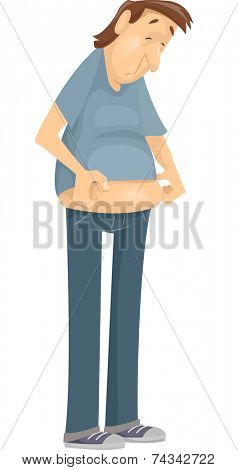 Illustration Featuring a Man Checking Out His Beer Belly