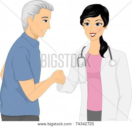 Illustration Featuring a Doctor and Her Elderly Patient Shaking Hands