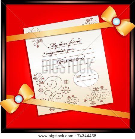 frame for a congratulation