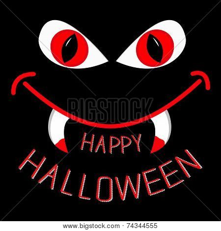 Evil Red Eyes And Mouth With Fangs At Night. Happy Halloween Car