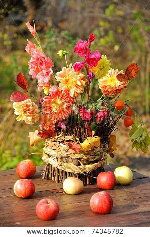 bouquet of autumn flowers in garden