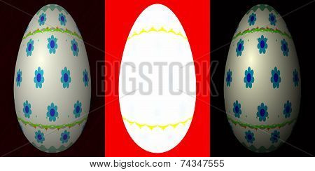 Three Easter eggs with clear space for adding text
