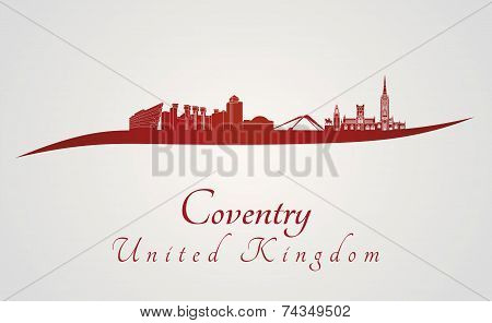 Coventry Skyline In Red