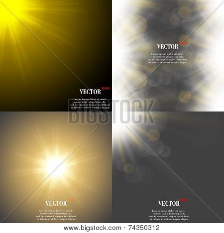 Abstract blurry background with overlying semi transparent circles, light effects and sun burst. Vec