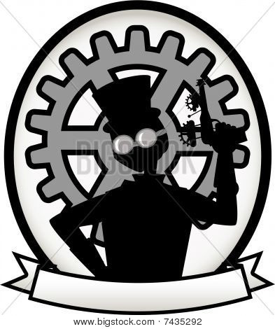 Silhouette Steampunk Man Gray Oval Badge Banner