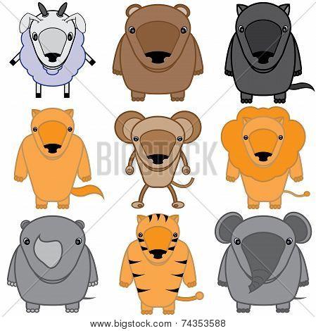 set of baby animals cartoon
