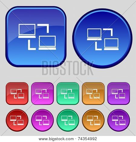 Synchronization sign icon. Notebooks sync symbol. Data exchange. Set colur buttons. Vector