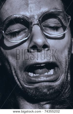 Funny Crying Man In Glasses