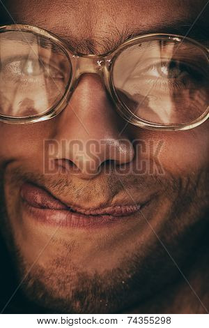 Handsome Man In Glasses Showing Tongue