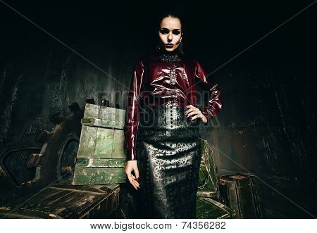 Gothic Woman In Black Skirt And Claret Shirt