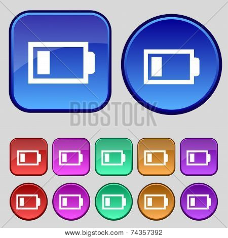 Battery low level sign icon. Electricity symbol. Set of colour buttons. Vector