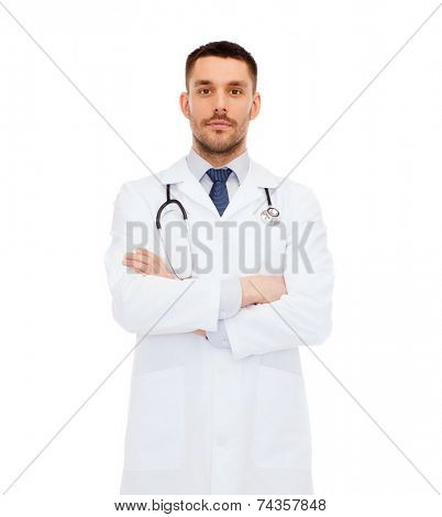 healthcare, profession and medicine concept - male doctor with stethoscope in white coat over white background