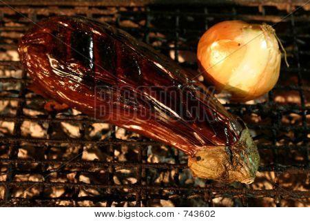 Eggplant  and onion