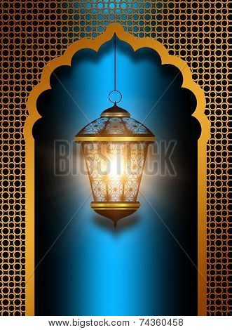 Shiny Diwali Lantern Over Blue Background