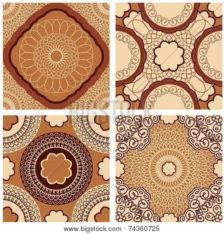 Set Of Squared Backgrounds - Ornamental Seamless Patterns In Brown, Chocolate Colors. Design For Ban