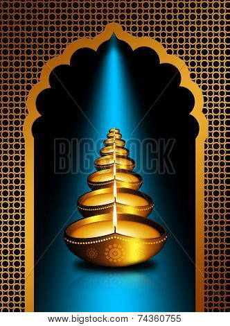 Diwali Oil Lamps Over Dark  Background