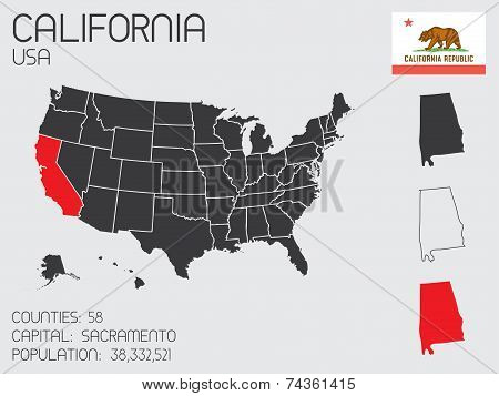 Set Of Infographic Elements For The State Of California