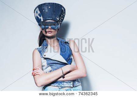 Woman In Denim Hat And Waistcoat