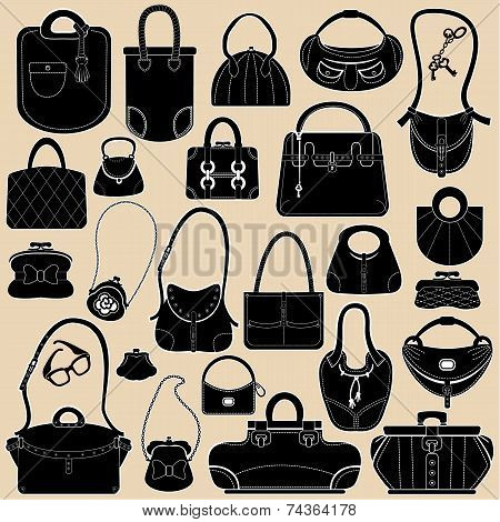 Set Of Woman Bags And Handbags. Black And White Colors  Objects.