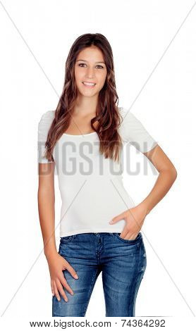 Attractive young girl with jeans isolated on a white background
