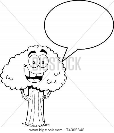 Cartoon Tree with a Caption Balloon