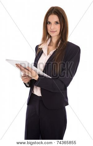 Attractive isolated smiling business woman with documents in her hands.