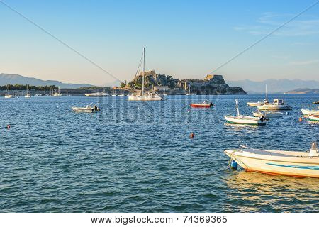 The Old Venetian Fortress Of Corfu Town And The City Bay At Corfu Island Greece