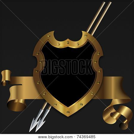Gold Medieval Shield And Banner.