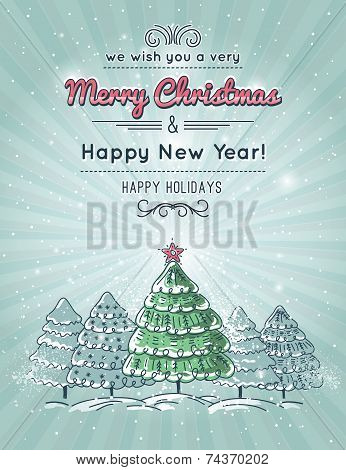 Grey Background With Forest Of Christmas Tree, Vector