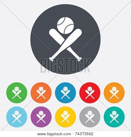 Baseball bats sign icon. Sport symbol.