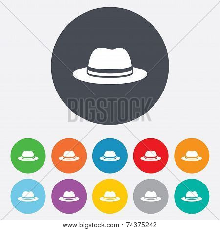 Top hat sign icon. Classic headdress symbol.