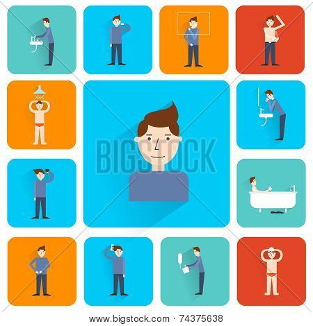 Hygiene flat icons set