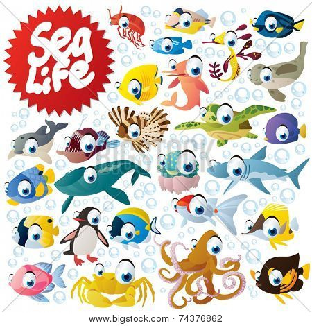 Big sea life animals set: fish, shark, octopus, dolphin, crab, penguin, angler, turtle, seal, seahorse, shrimp