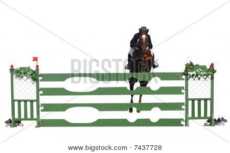 A Horse And Rider Jumping Over A Jump
