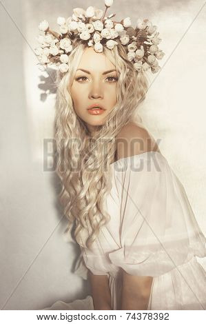 Beautiful Blonde With Wreath Of Flowers