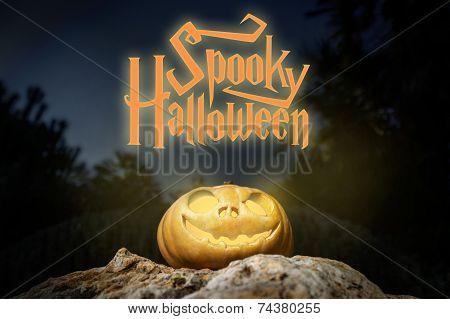 Spooky Halloween Warm Neon Pumpkin In On A Rock In The Darkness
