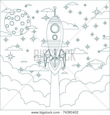 Cartoon Flying Rocket in the Sky.  Contour vector