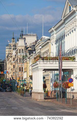 Esplanade. Street In The Center Of Helsinki, Finland