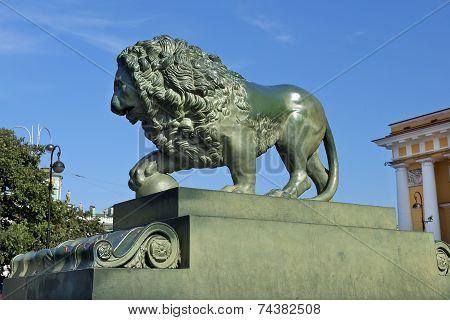 Lions At The Admiralty Embankment In Saint Petersburg