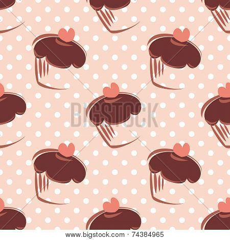 Tile vector pattern with cupcakes and white polka dots on pink background